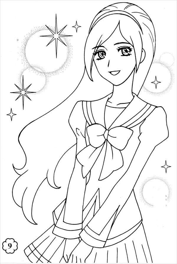 anime girl coloring pictures 8 anime girl coloring pages pdf jpg ai illustrator anime coloring pictures girl