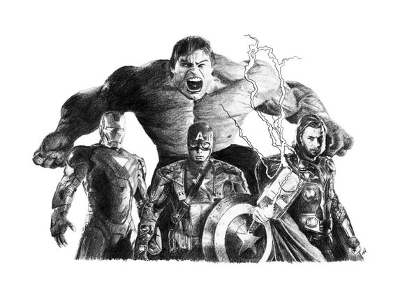 avengers drawing pictures avengers pencil drawing etsy avengers pictures drawing