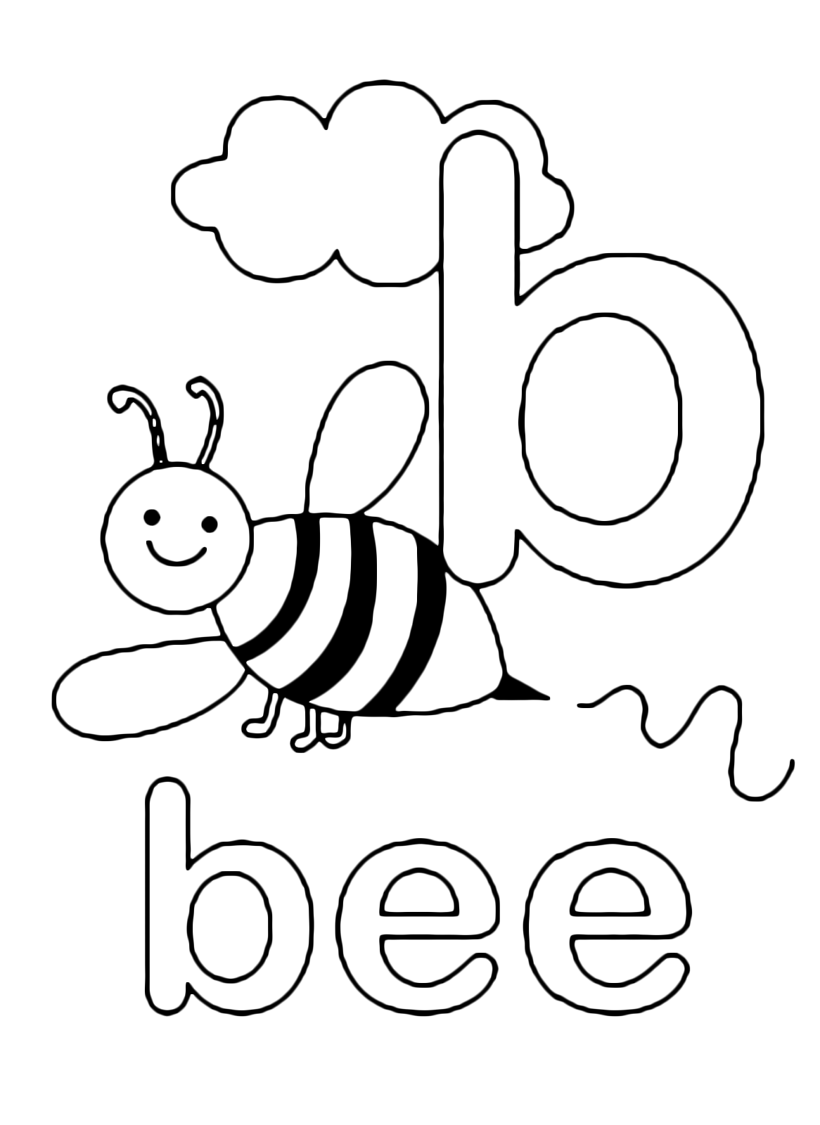 b is for bee coloring page b is for bee bee coloring pages bee printables coloring is for bee page b