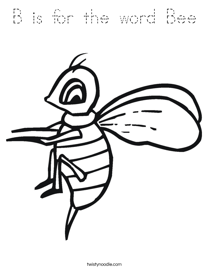 b is for bee coloring page b is for the word bee coloring page tracing twisty noodle for coloring page is bee b