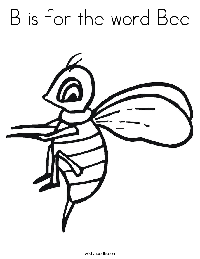 b is for bee coloring page b is for the word bee coloring page twisty noodle page for coloring b is bee