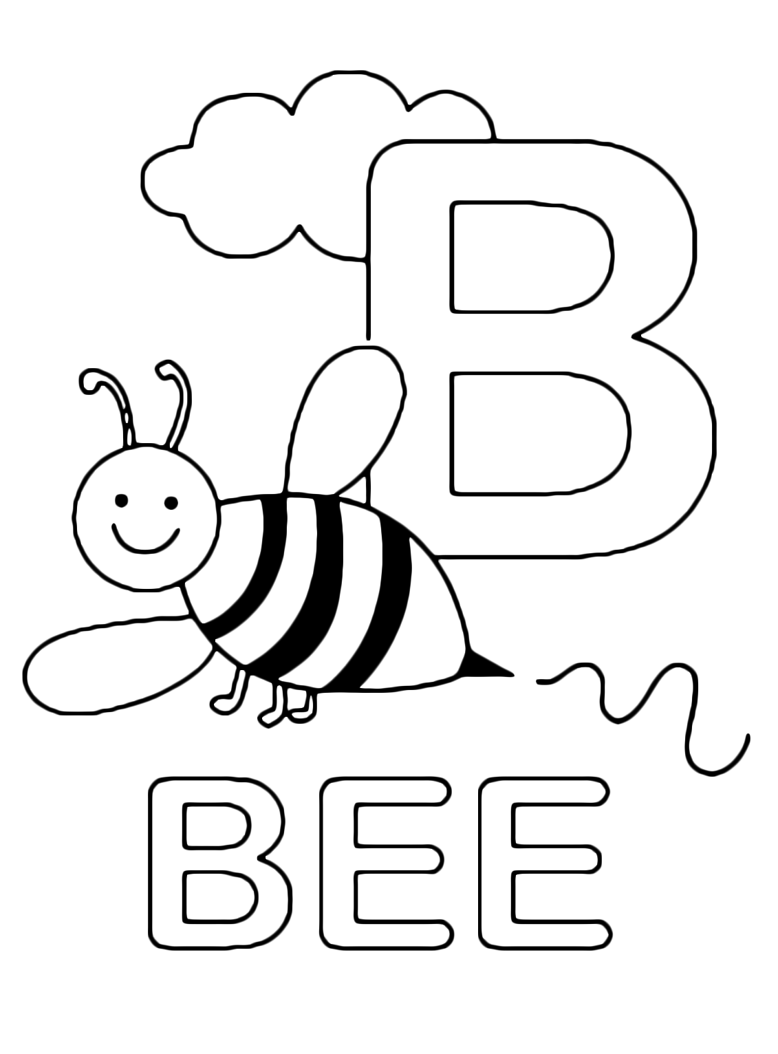 b is for bee coloring page letters and numbers b for bee uppercase letter for is bee coloring page b