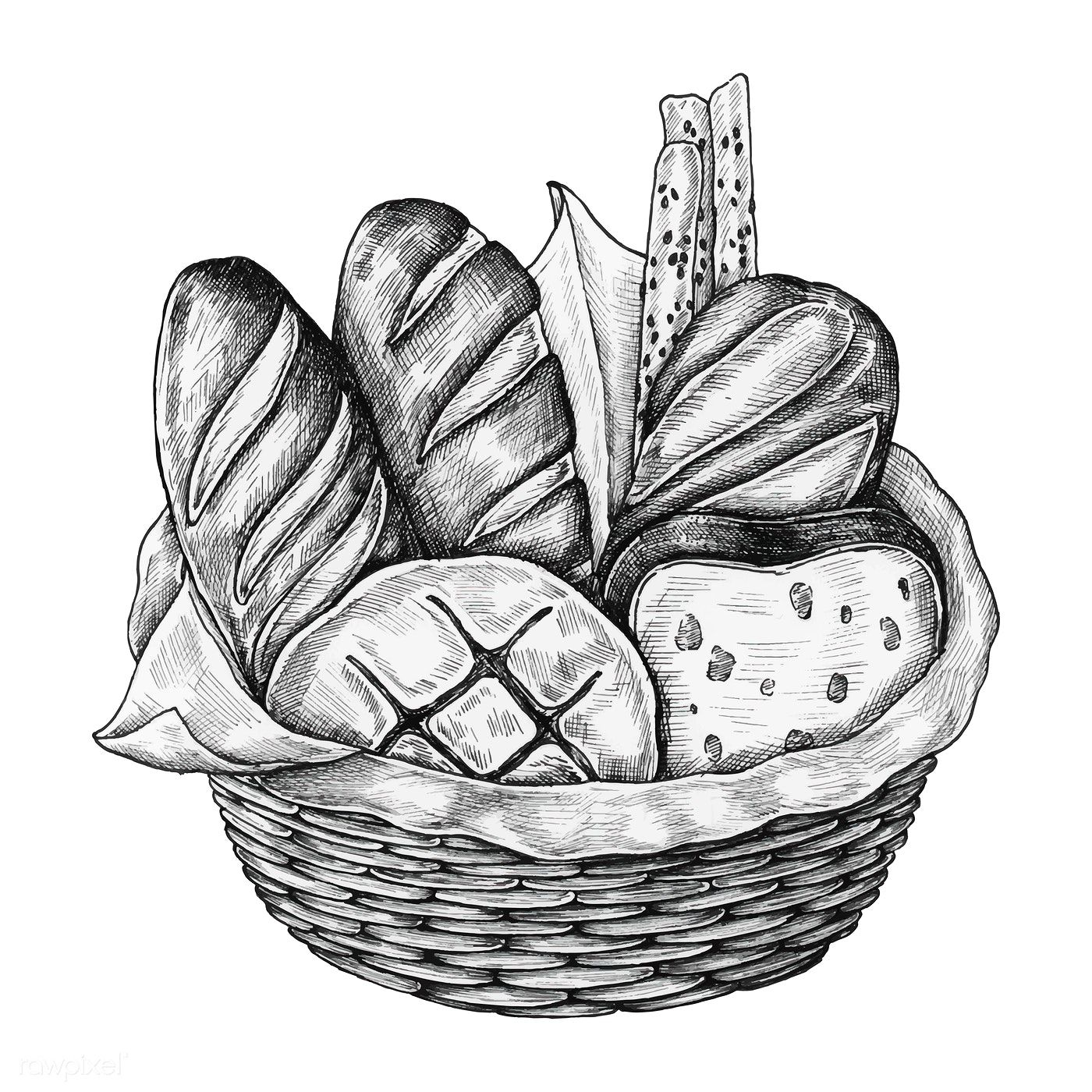 basket drawing download premium illustration of hand drawn bread basket basket drawing