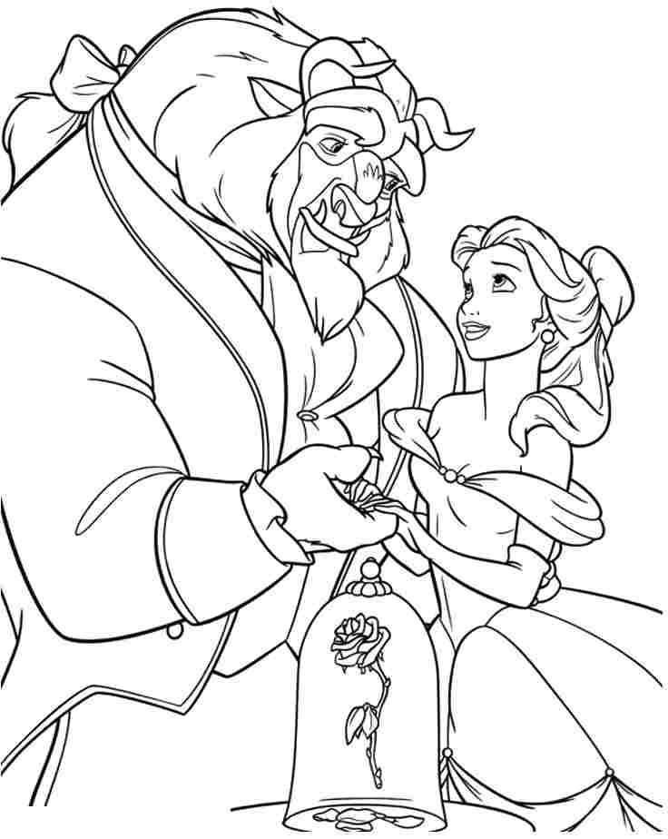 beauty and the beast colouring page beauty and the beast coloring pages download and print the page colouring beast and beauty