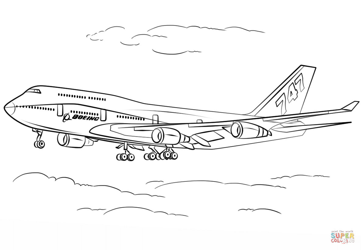 boeing 747 coloring page boeing 747 airplane ready for take off coloring page boeing page 747 coloring