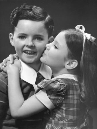 boy and girl kiss girl kissing boy photographic print by george marks at girl boy and kiss
