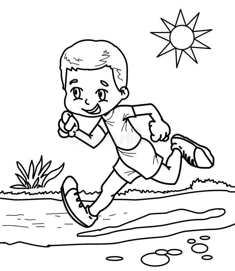 boy running coloring page coloring page of cartoon boy running marathon winner stock coloring running page boy