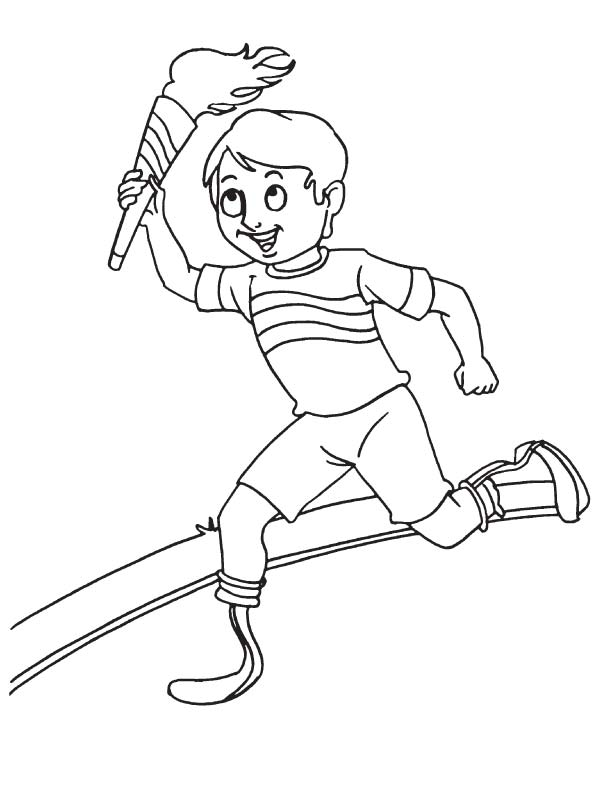 boy running coloring page disabled boy running with torch download free disabled running boy coloring page