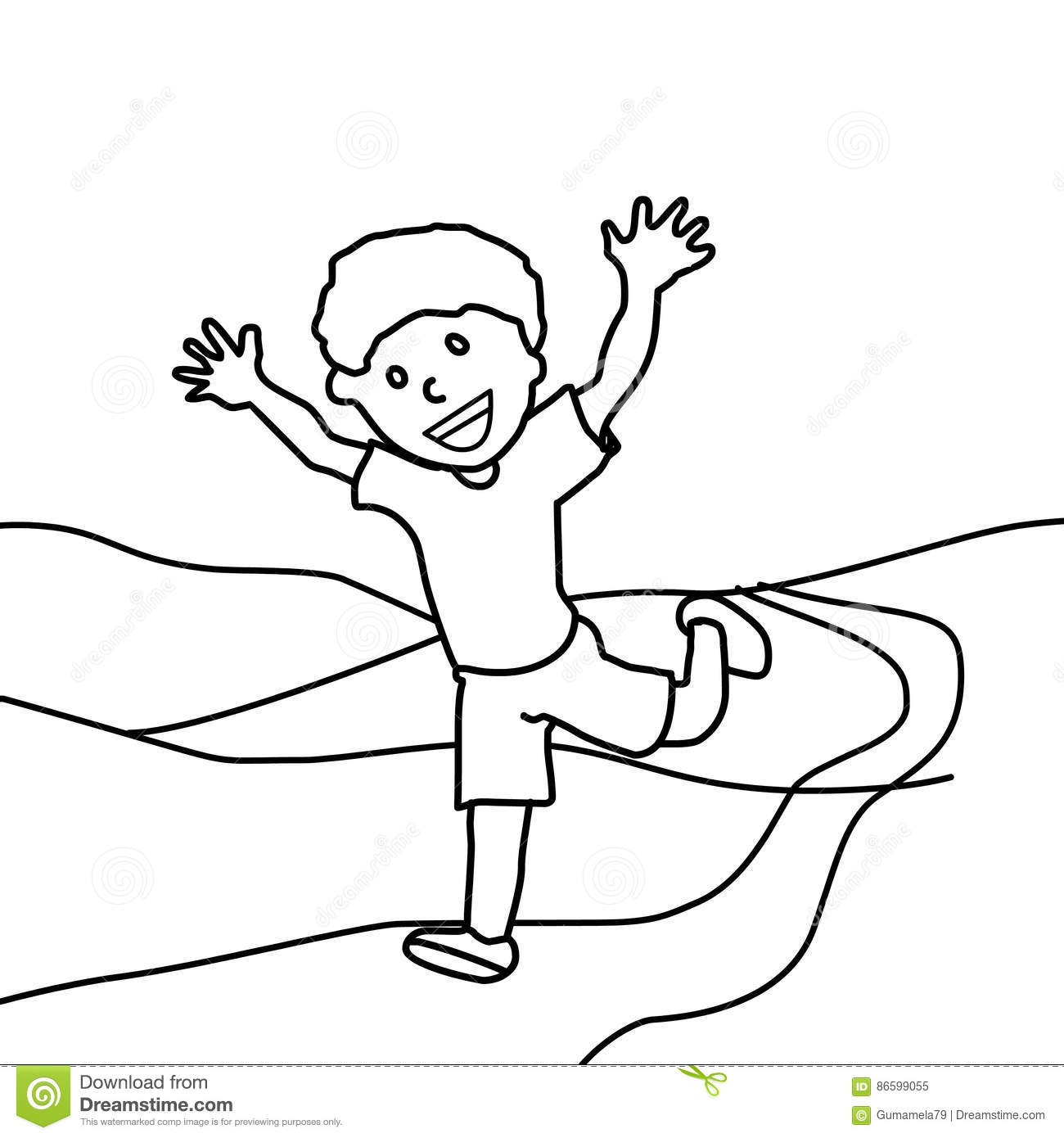 boy running coloring page happy boy running coloring page stock illustration page boy coloring running