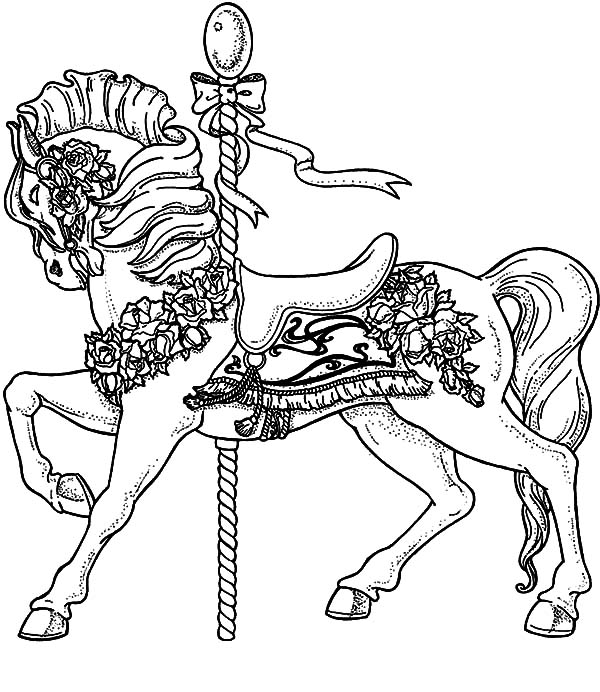 carousel horse coloring pages carousel coloring pages getcoloringpagescom coloring carousel pages horse