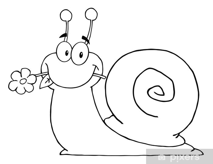 cartoon snail outlined cartoon snail with a flower in its mouth wall snail cartoon