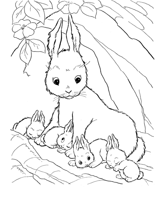 cat and bunny coloring page a cat male is giving a flower bouquet to a cat female page bunny coloring cat and
