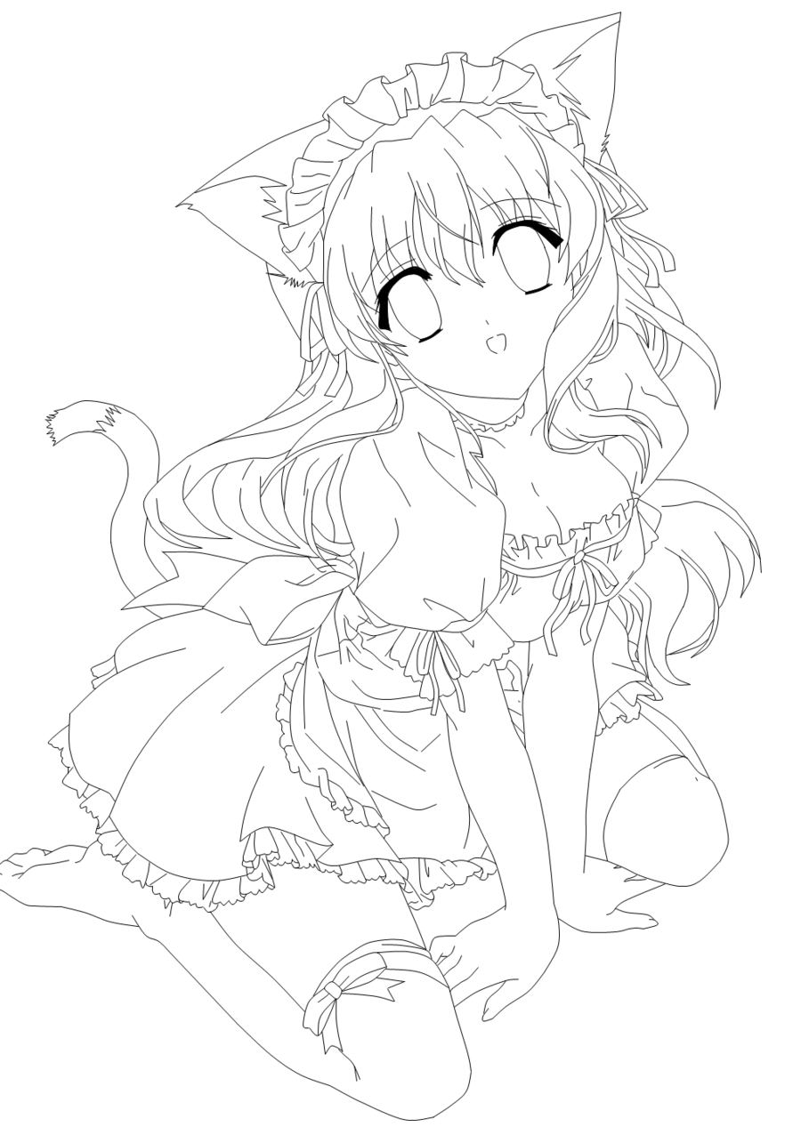 cat girl anime coloring pages anime cat girl coloring pages at getcoloringscom free pages coloring cat anime girl