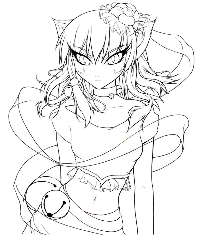 cat girl anime coloring pages cat girl lineart by crysa on deviantart anime cat girl coloring pages