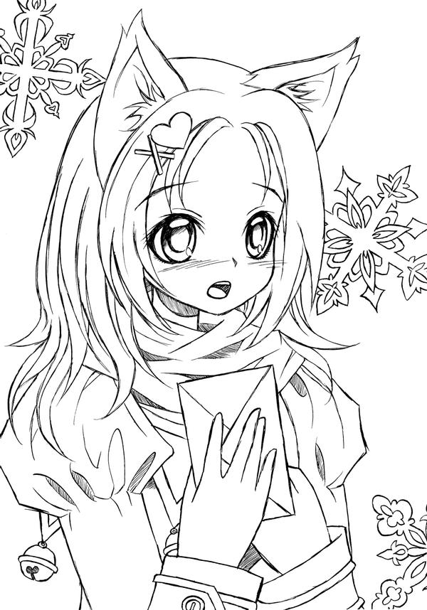cat girl anime coloring pages catgirl lineart by liadebeaumont on deviantart anime cat coloring pages girl