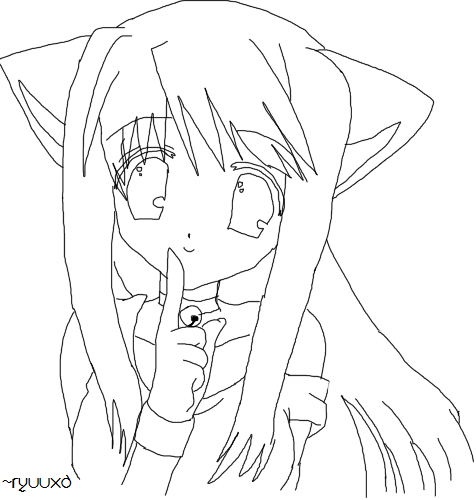 cat girl anime coloring pages catgirl lineart by ryuuxd on deviantart coloring pages cat anime girl