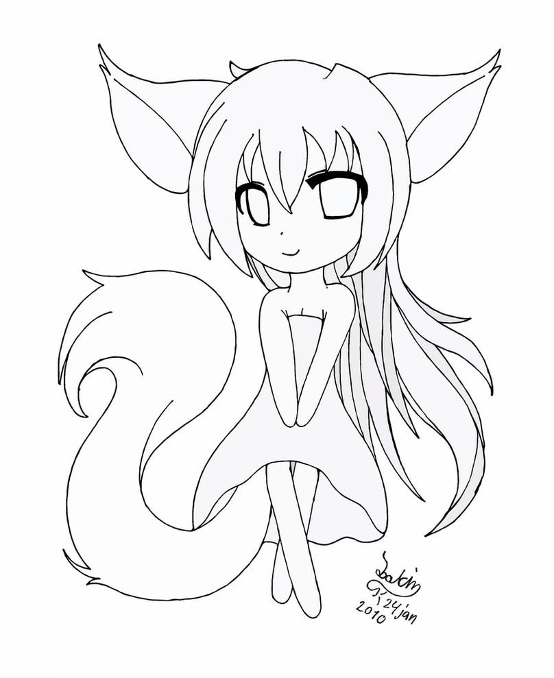 cat girl anime coloring pages chibi fox girl lineart by joakaha on deviantart anime girl cat pages coloring