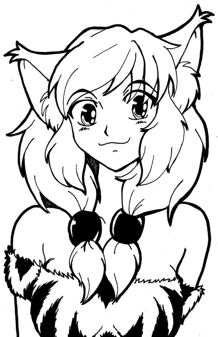 cat girl anime coloring pages lineart cat girl by strawberrycake on deviantart girl cat coloring pages anime