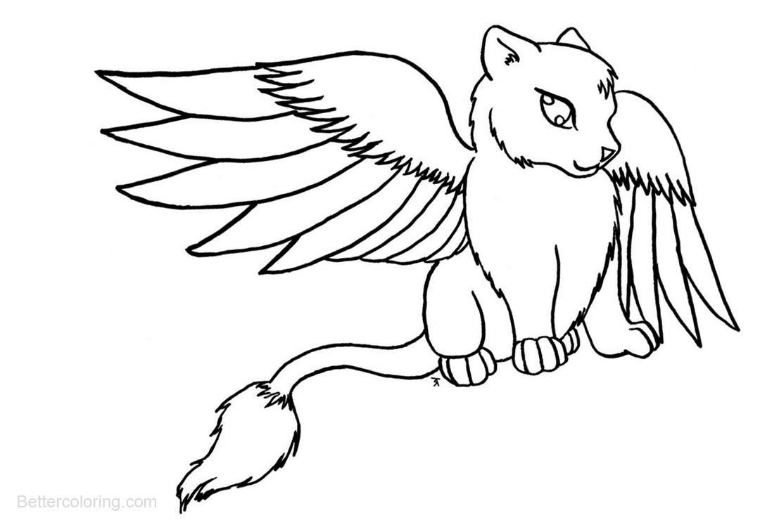 cat with wings coloring pages cat with dragon wings basecoloring page by krazy8horse on cat pages coloring wings with