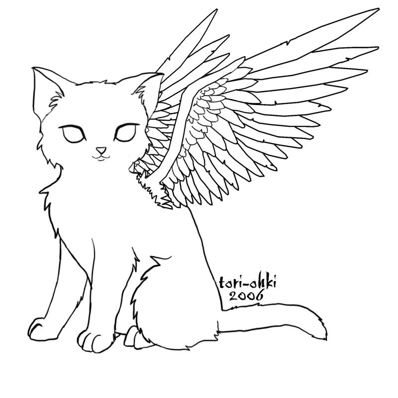 cat with wings coloring pages free winged cat lineart by color freak1 on deviantart pages wings coloring with cat