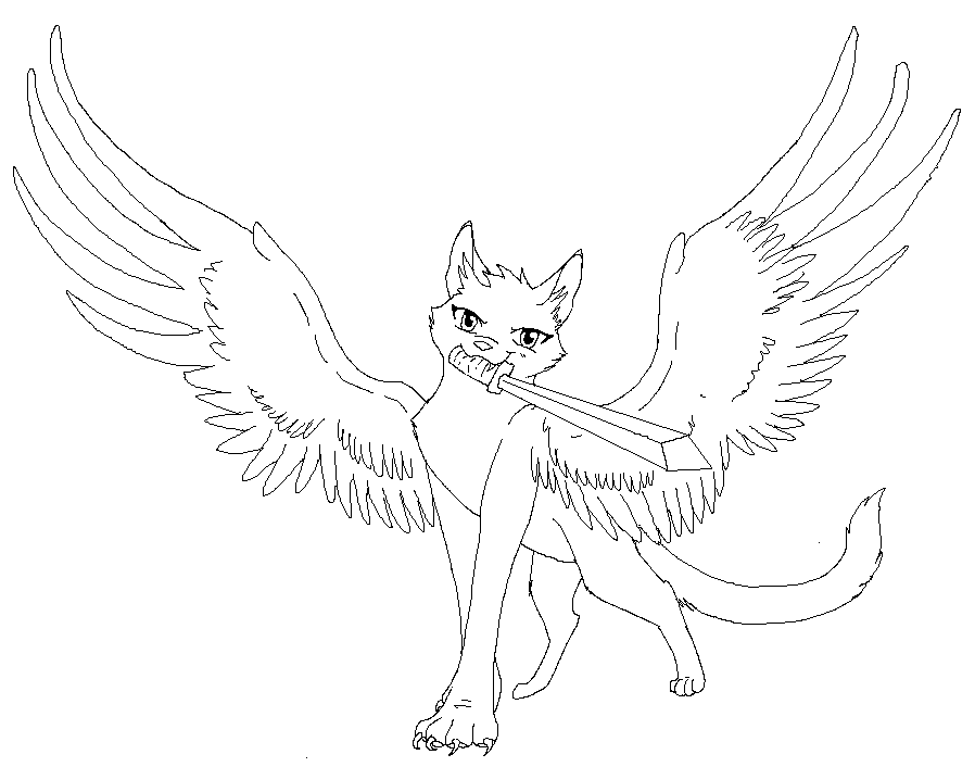 cat with wings coloring pages winged cat lineart by rahsterrox on deviantart pages with coloring wings cat
