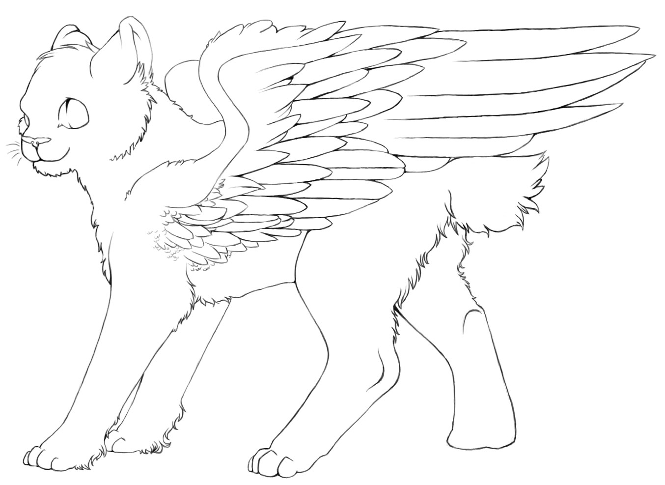 cat with wings coloring pages winged cat lines 2 by demonickitty244 on deviantart with pages wings cat coloring