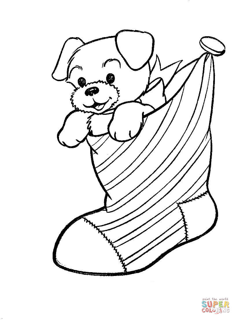 christmas coloring pages of puppies a puppy dog in a christmas stocking coloring page free coloring of christmas puppies pages