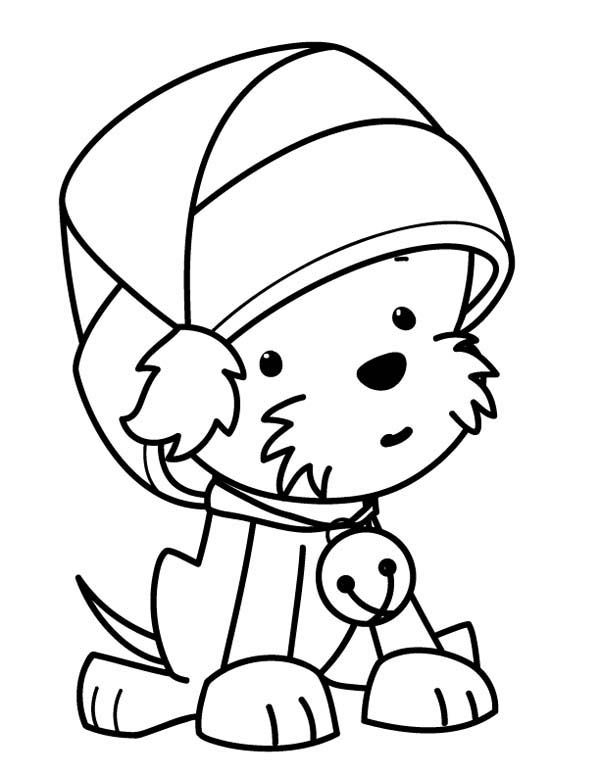 christmas coloring pages of puppies coloring a cute little dog wearing santas hat christmas puppies of christmas pages coloring