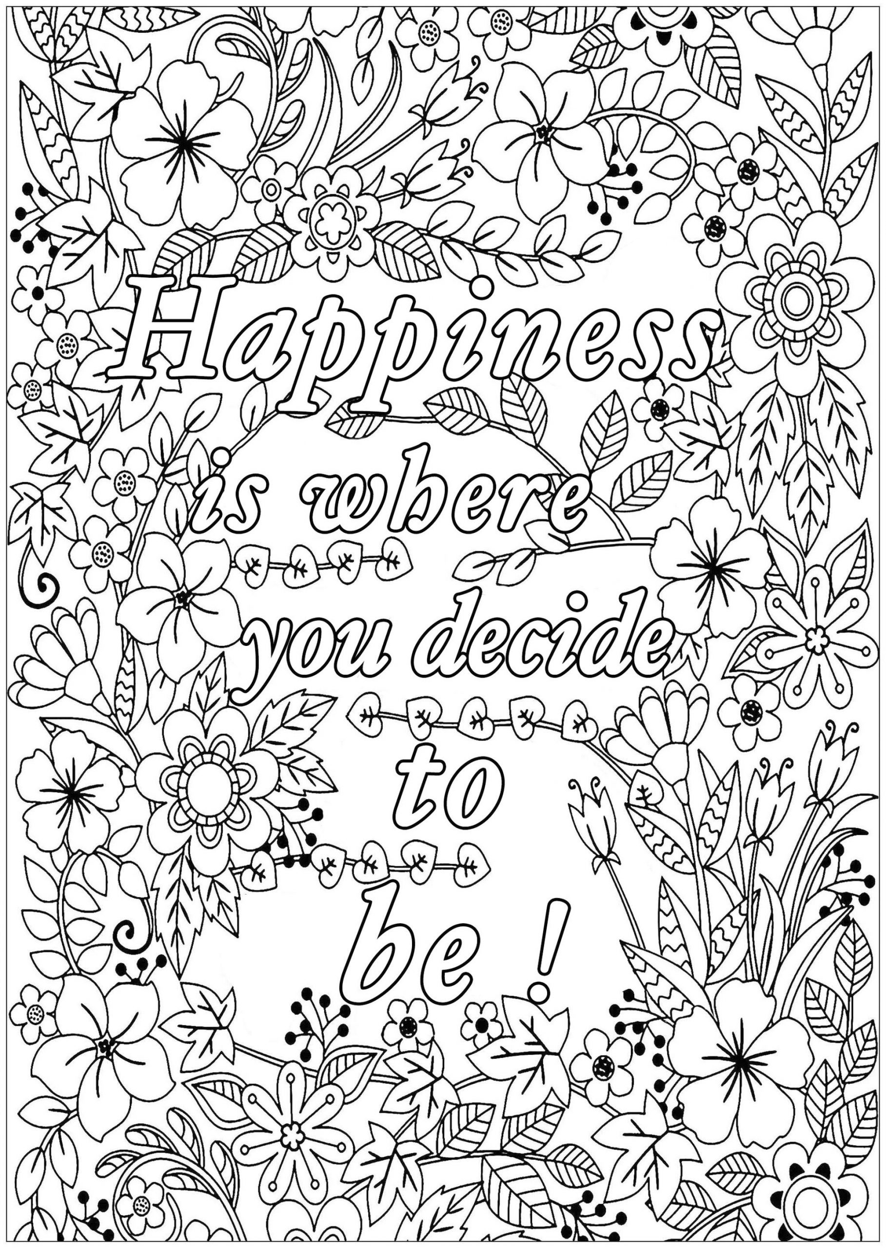 coloring adults get this printable adult coloring pages quotes happiness coloring adults