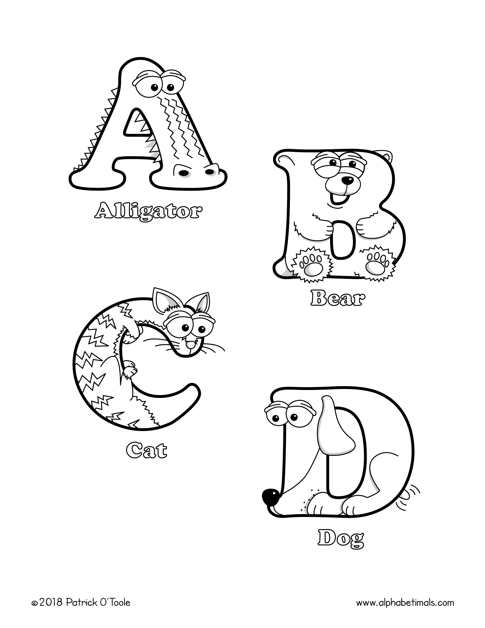 coloring alphabet animals fun coloring book and printable pages for kids free alphabet animals coloring