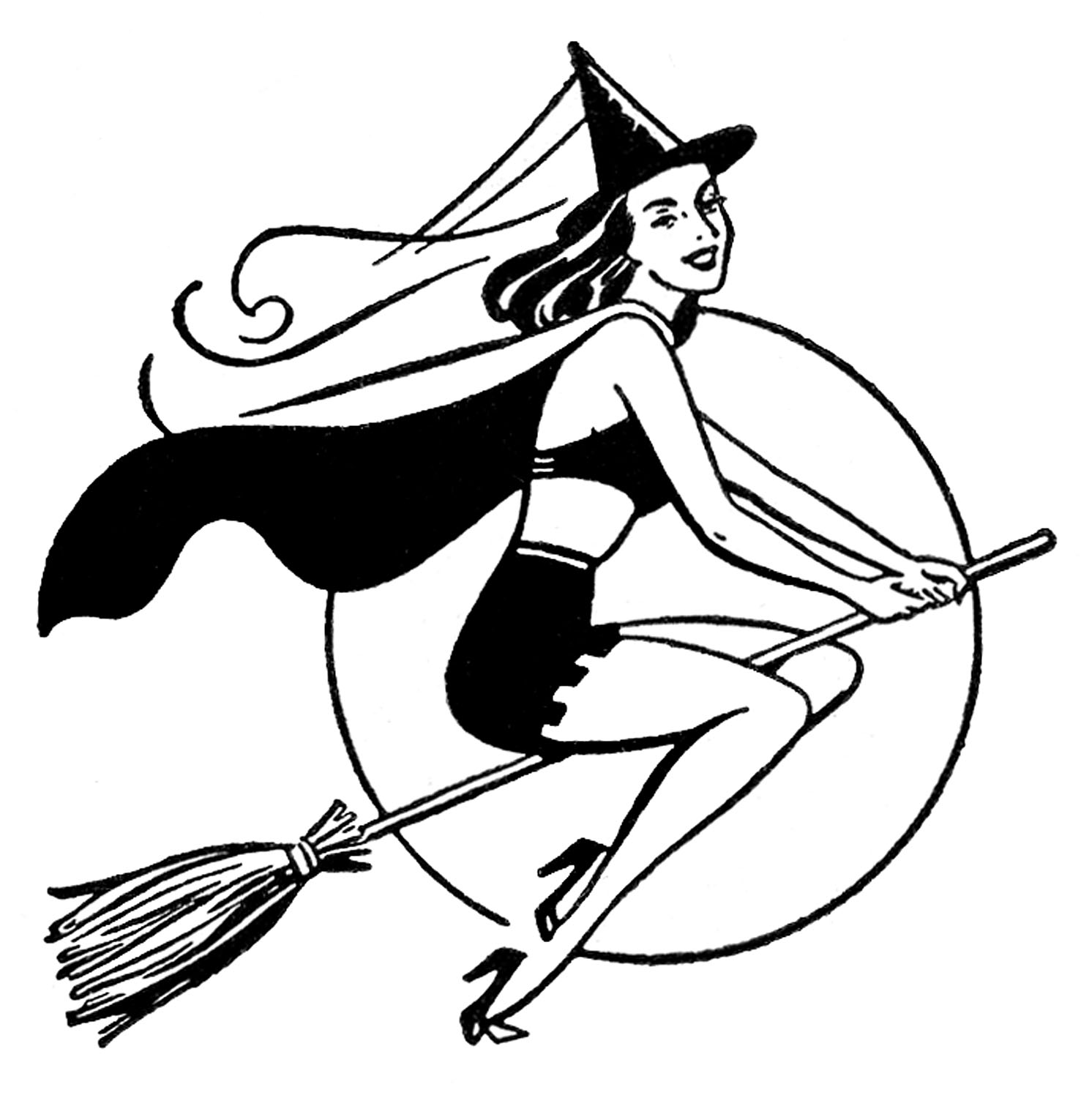coloring clipart halloween black and white 4 pretty witch clipart the graphics fairy white coloring clipart and black halloween