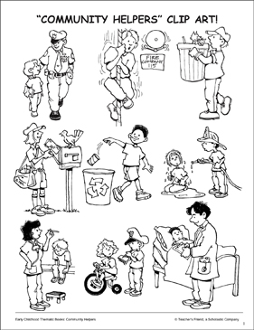 coloring community helpers clipart black and white community helpers clip art printable clip art and images white clipart community and coloring helpers black
