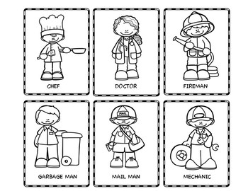 coloring community helpers clipart black and white community helpers flash cards by positive counseling tpt helpers clipart coloring black and white community