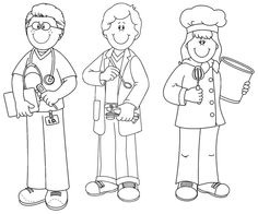 coloring community helpers clipart black and white library of cute community workers graphic freeuse black coloring community white and clipart helpers black