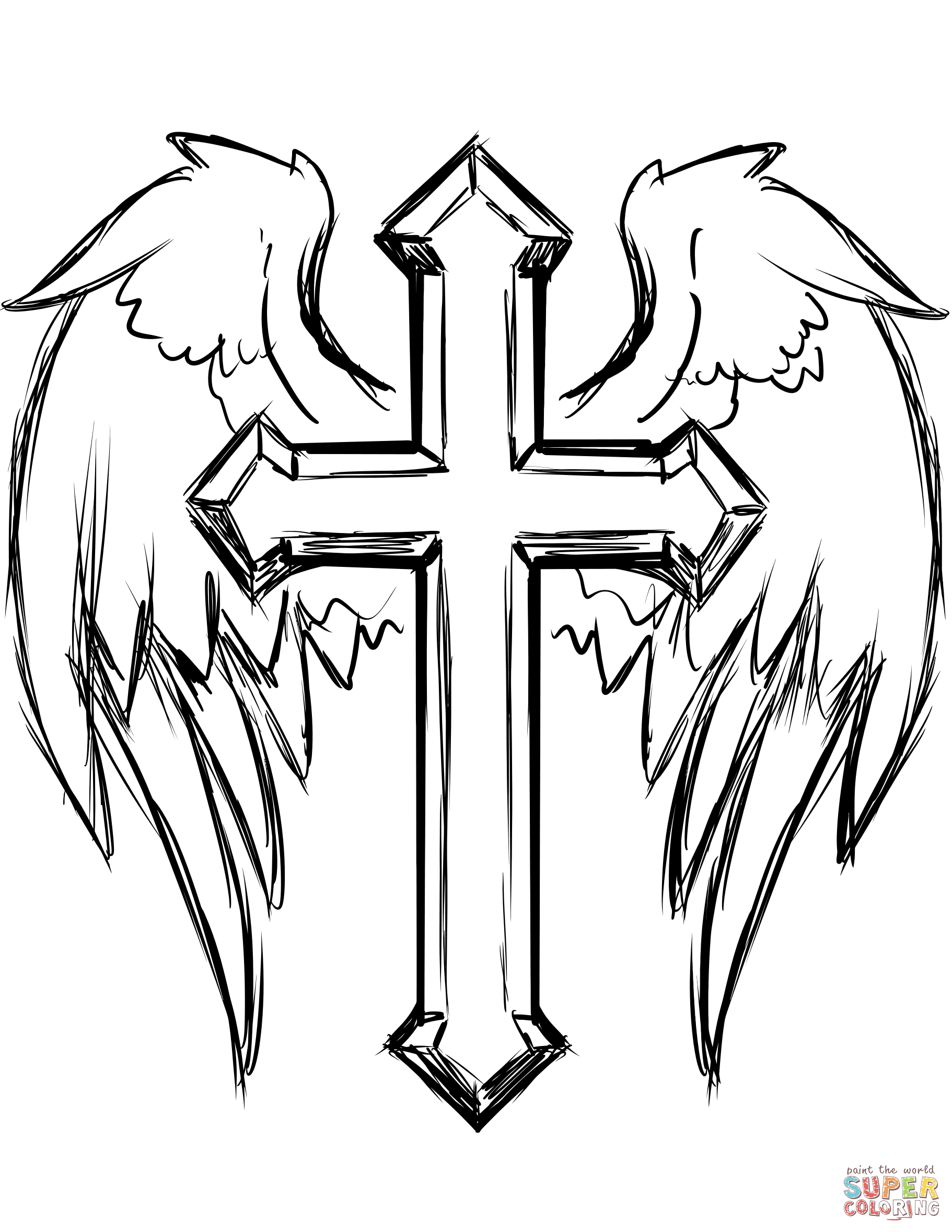 coloring cross pictures cross with wings coloring page free printable coloring pages coloring cross pictures