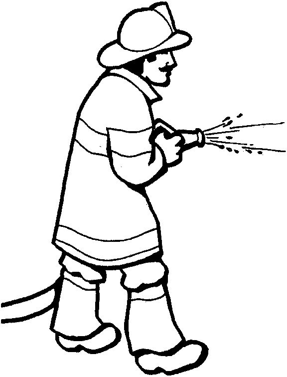 coloring fireman clipart black and white cartoon firefighter coloring page coloring home coloring fireman black white clipart and