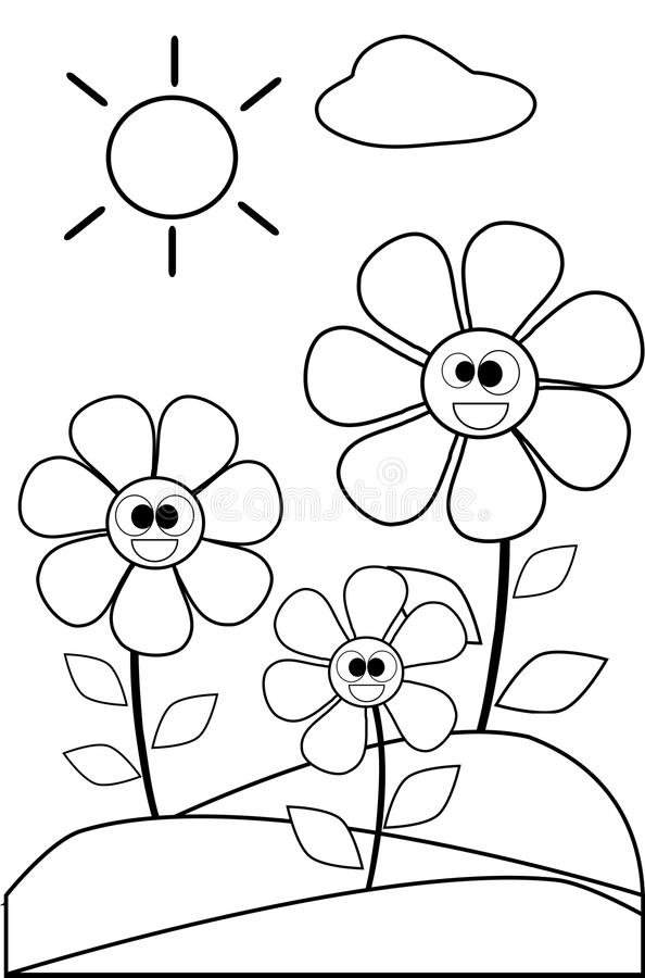 coloring flower cartoon images coloring flowers in black and white stock vector cartoon flower images coloring