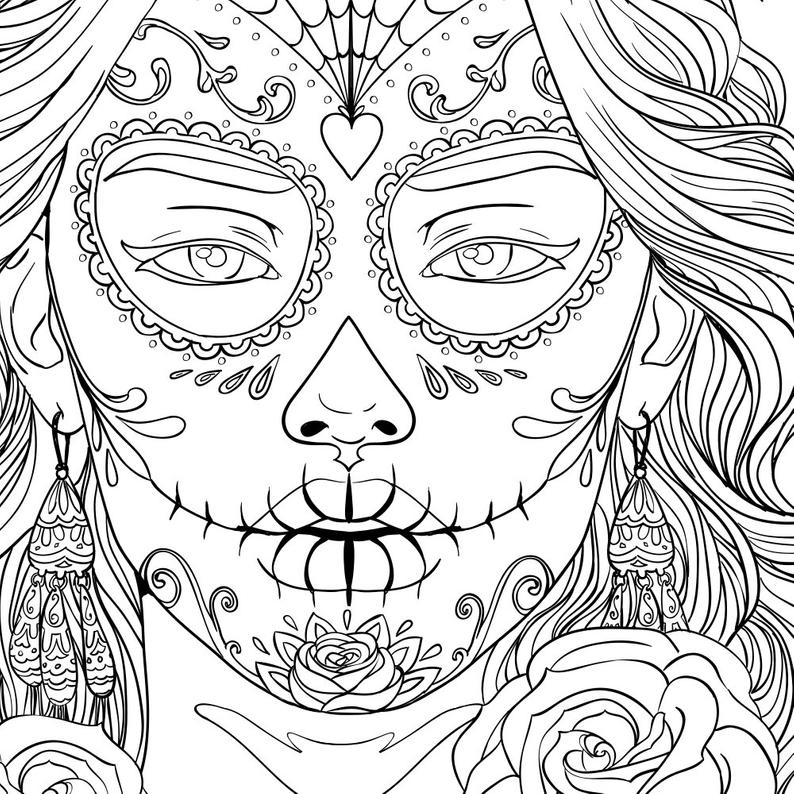 coloring halloween card adult coloring page halloween day of the dead line art etsy coloring card halloween