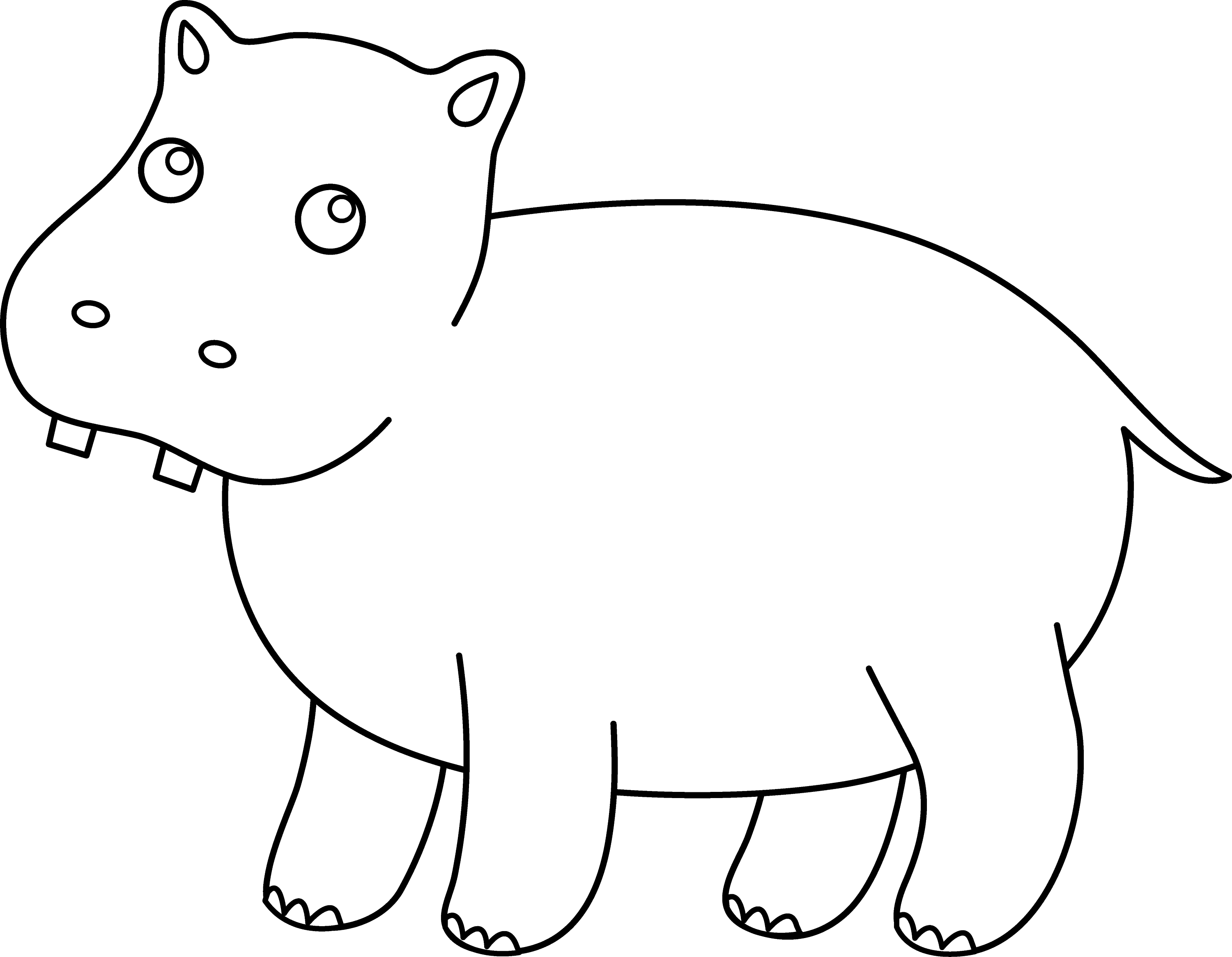 coloring hippo clipart hippo outline drawing at getdrawings free download hippo coloring clipart