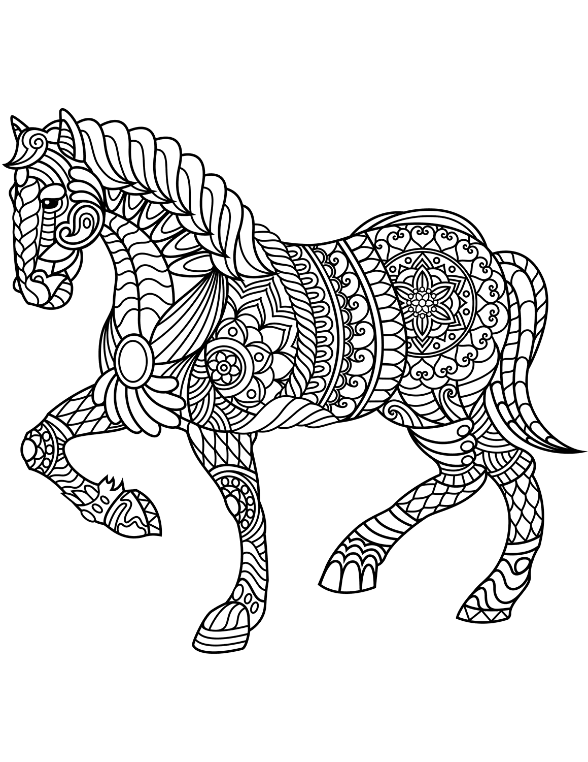 coloring horses printable zentangle horse coloring pages at getcoloringscom free horses coloring printable