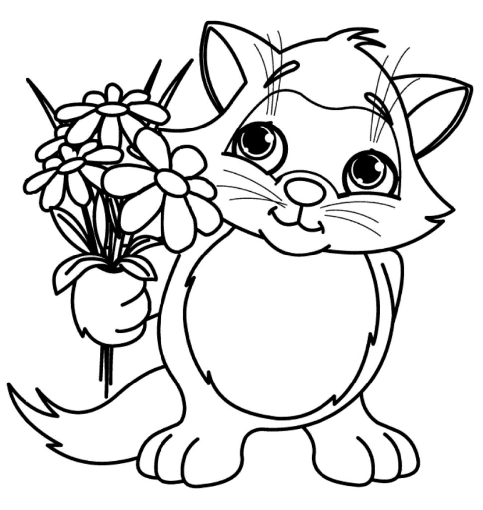 coloring kitty cat cute cat with flowers coloring page free printable cat coloring kitty