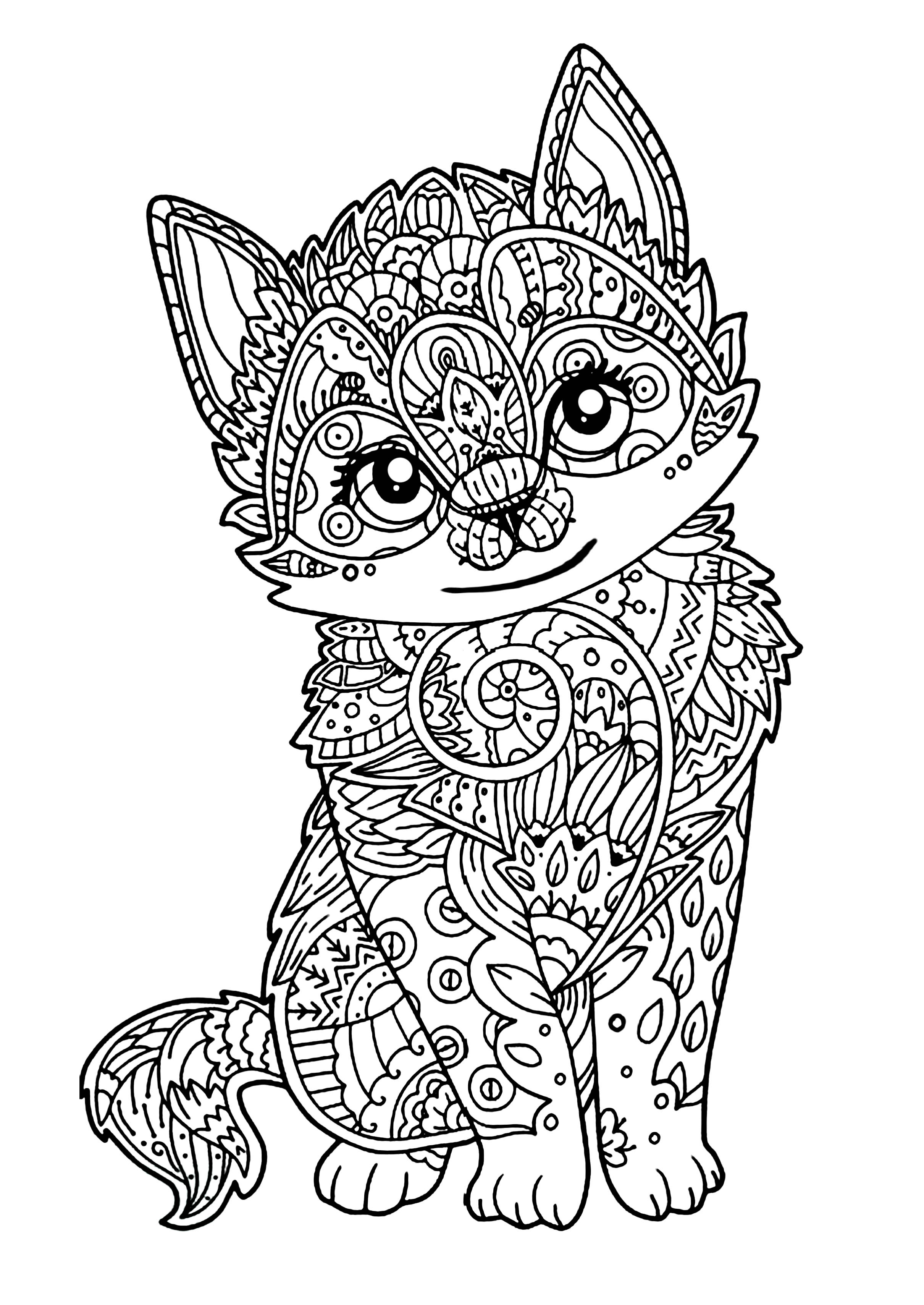 coloring kitty cat cute kitten cats adult coloring pages kitty coloring cat