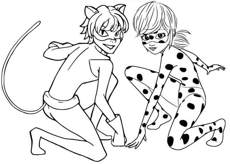 coloring ladybug and cat noir ladybug and cat noir coloring page coloring and ladybug noir cat