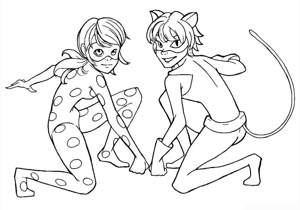 coloring ladybug and cat noir ladybug and cat noir coloring pages coloring and ladybug noir cat