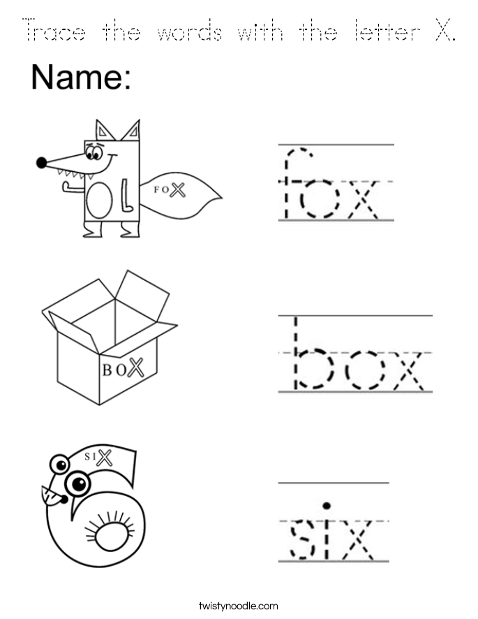 coloring letter x worksheets trace the words with the letter x coloring page tracing worksheets letter coloring x