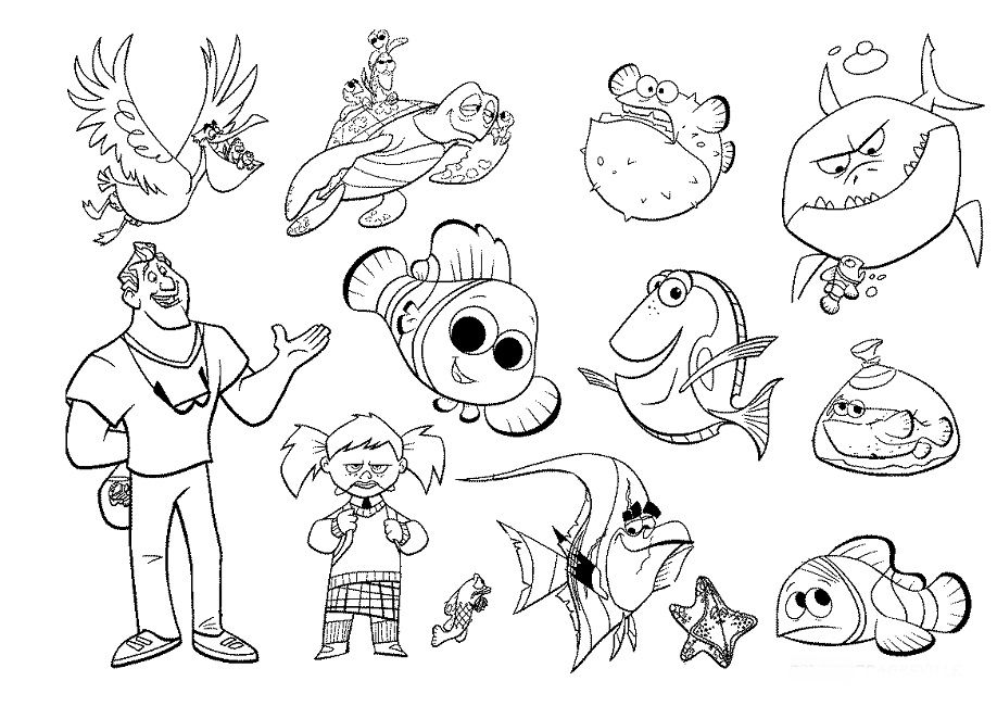 coloring nemo characters finding nemo characters coloring pages finding nemo nemo characters coloring
