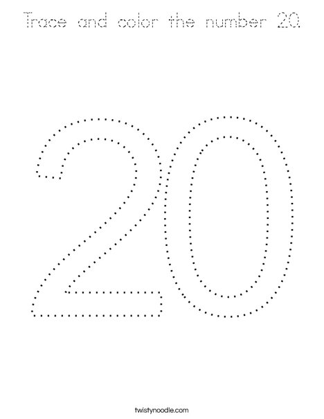 coloring number 20 20 coloring page twisty noodle 20 number coloring