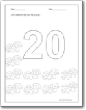 coloring number 20 number 20 writing counting and identification printable coloring number 20