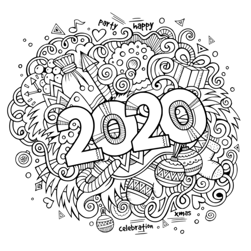 coloring page 2020 new year 2020 coloring pages for teens and adults by coloring page 2020