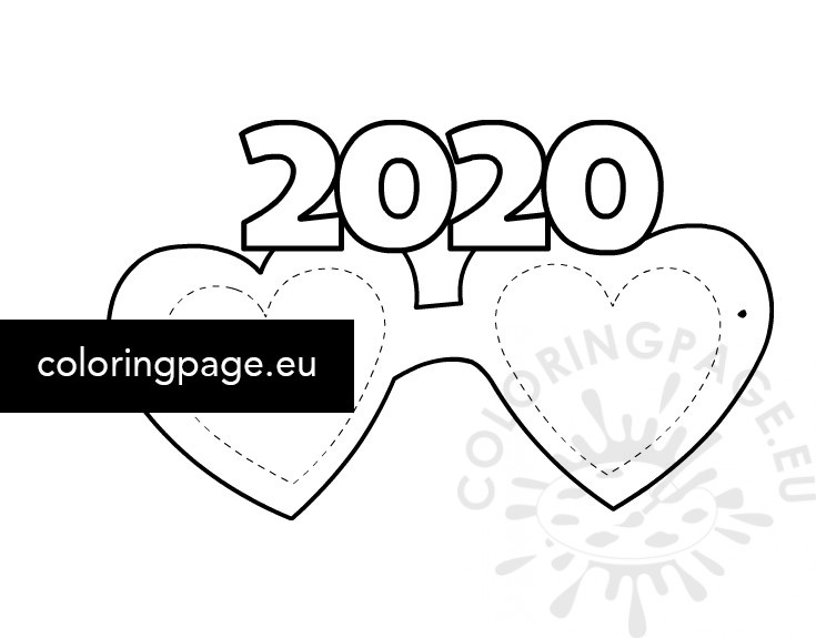 coloring page 2020 party glasses new year 2020 template coloring page coloring page 2020